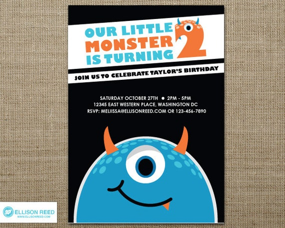 items similar to little monster invitation