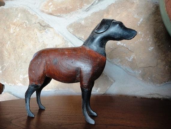 Wood and Metal Dog Sculpture, Folk Art, Rottweiler, Brown and Black Dog, Primitive