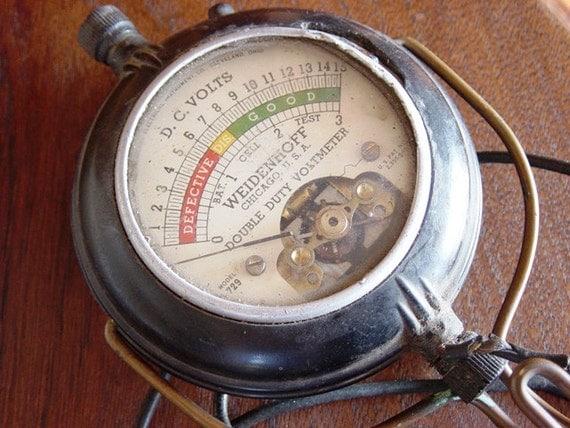Antique Meter And Gauges : Antique voltmeter steampunk gauge meter dial handheld