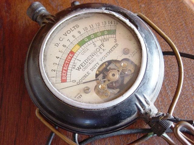 Antique Volt Meter : Antique voltmeter steampunk gauge meter dial handheld