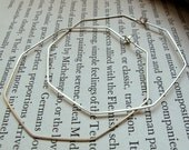 Sterling Silver Octagon Hoop Earrings - Geometric Hoops - Large Modern Earrings - Thin, Hammered, Everyday Wear Jewelry