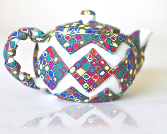 SALE! Polymer Clay Klimt Inspired Art Deco Teapot Harlequin design and Multicolored