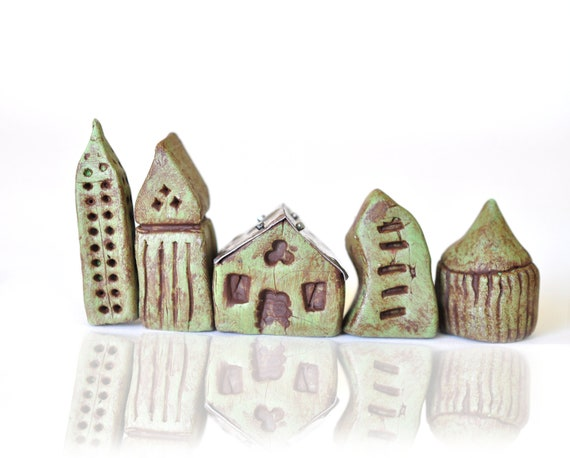 BF SALE - Clay Miniature Houses - It takes a Village - Antiqued, Green Polymer Clay Black Friday Etsy