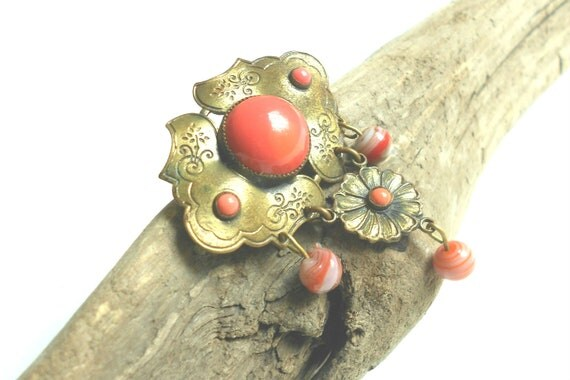 Art Deco brass & coral vintage brooch with art glass bead danglers