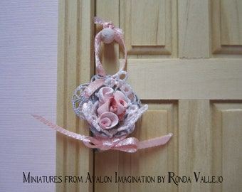 PRICE REDUCED Miniature dollhouse shabby chic - Victorian rose and lace filled cone decoration nosegay tussie mussie