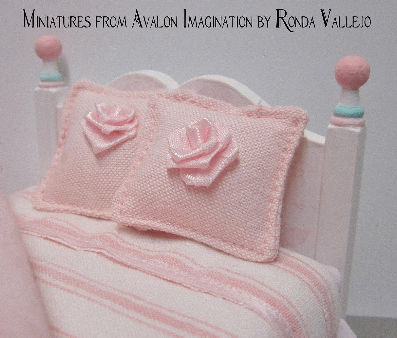 Shabby Chic Pink Decorative Pillows : Miniature shabby chic pink pair of decorative pillows with