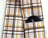 DSLR Camera Strap Cover - Padding and Lens Cap Pocket -  Plaid Brown Mustard