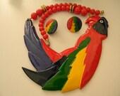 Huge Parrot Set, Vintage, Colorful Plastic, 70s