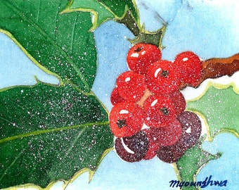 ACEO Limited Edition 2/25- Winter berries, in watercolor.