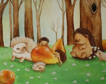 Nursery Art Hedgehog Family, print from an original watercolor illustration by Irene Owens