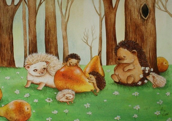 Nursery Art Hedgehog Family, print from an original watercolor illustration by Irene Owens