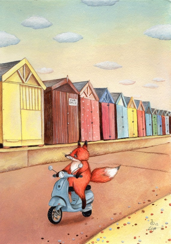 Fox on Vespa Scooter, beach huts, high quality art print from an original acrylics illustration by Irene Owens