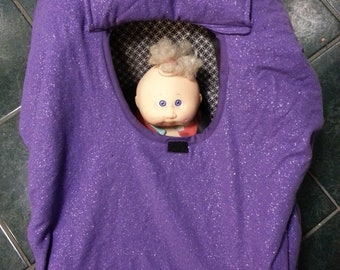 Baby Carrier Cozy Cover Up in a Purple Sparkle Flannel for Infant car seats