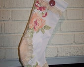 Floral Christmas Stocking Shabby Chic Christmas Stocking Vintage Trim