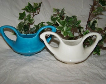 Vintage Turquoise White Ceramic Containers
