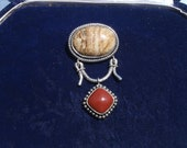 Large Sterling Silver Brooch/Pendant with Carnelian and Jasper FREE SHIPPING