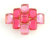 Vintage Brooch, Lucite Plastic Retro Jewelry, Hot Pink, Prong Set, Vintage Jewelry Signed Germany