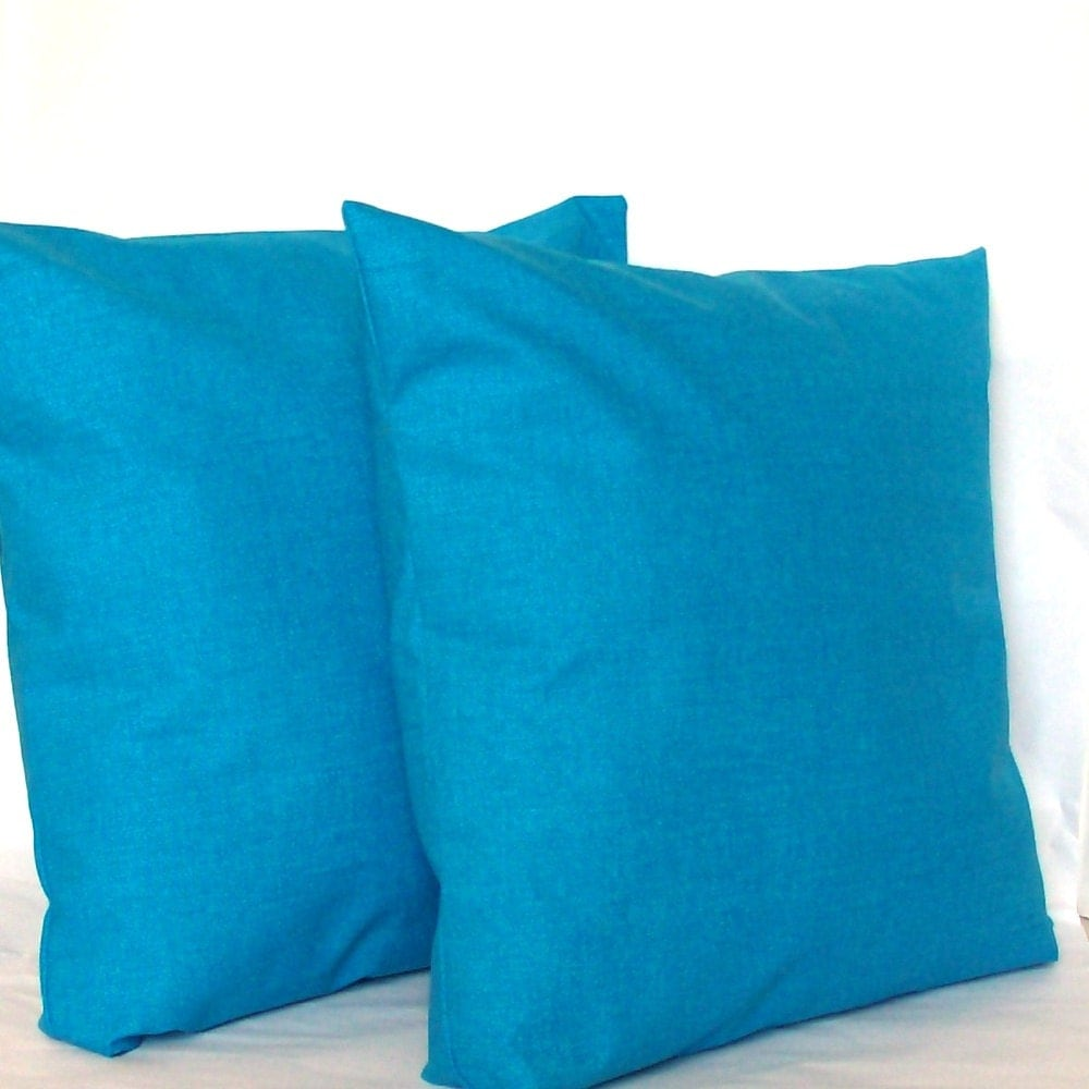 Blue Pillow Covers TWO 18x18 inch Solid Azure by PureHomeAccents