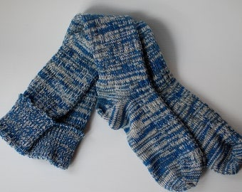 Socks Blue Knee High Boot Handcranked White Variegated Ragg Wool Cotton