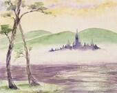 Fairy misty castle Japanese lake watercolor mauve mint - ucuspucus