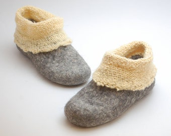 Felt wool slipper boots with knitted ankle - organic wool felt clogs - eco-friendly house shoes