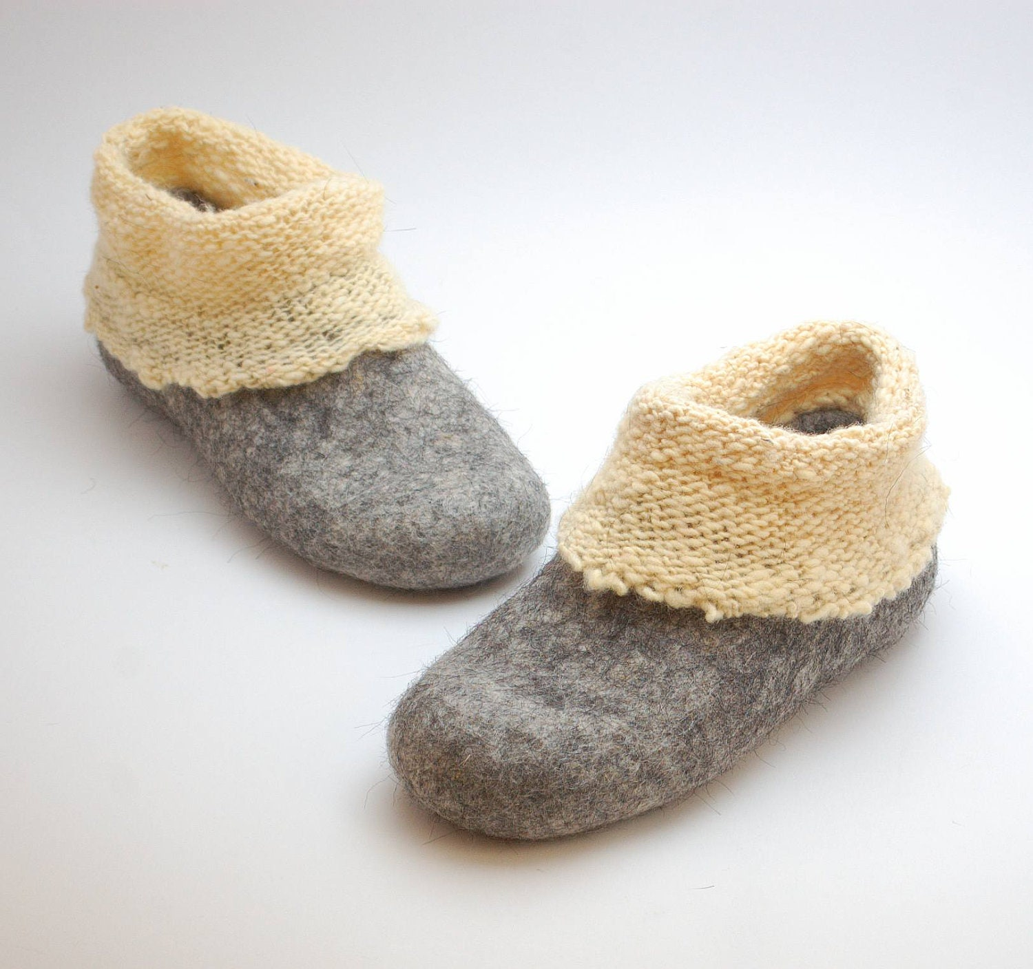 Felt wool slipper boots with knitted ankle organic wool felt
