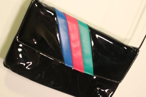 Vintage 80s Black Patent Leather Purse - 3 Pastel Stripes - Snap front