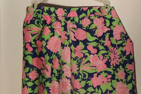 Vintage 70s Plus Size Shorts - High Waist Coolat Shorts - Bright Pink Flowers