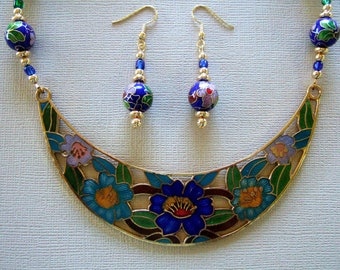 Exquisite Unique Necklace Sapphire Blue Flower Necklace Gorgeous Handmade Cloisonne Mother's Day Gift Anniversary Gift Cool Gift for Her