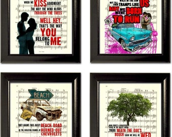 Bruce Springsteen Set of 4 Song Lyric Prints on Music Sheet Pages mixed media the boss  visual juke box