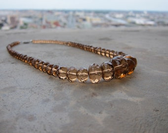 Smoky Glass Graduated Bead Necklace