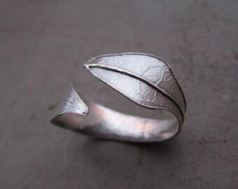 Cuff/Open Bangle Bracelet - Costa Rican Croton Leaf - Miski Metal