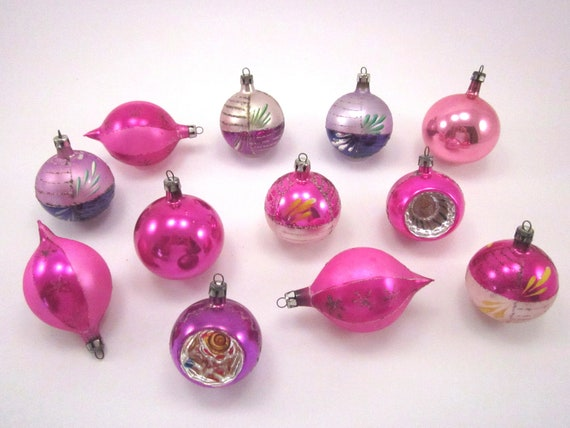 Pink And Purple Vintage Glass Christmas Holiday Ornaments Boxed Set Of Twelve