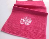 Towel with Arabic Embroidery- Dark Pink with White