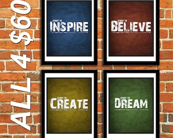 ALL 4 8x10 Dream Create Inspire Believe Inspiration Saying Motivation Wall Art Posters for Home Office Studio Decor - Four 8x10 Print