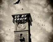 Portland Oregon Photo Train Union Station--Fine Art Black and White Photography 8.5x11