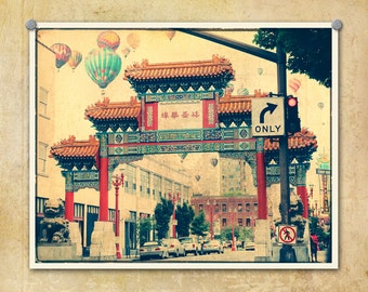Portland Oregon Photo Chinatown Gate Hot Air Balloons--Fine Art Distressed Lomography 8x10