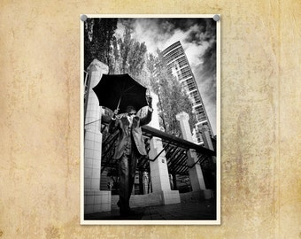 Portland Oregon Photo Pioneer Courthouse Square--Fine Art Black and White Photography 8x12