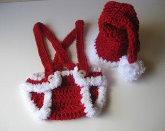 Crochet Baby Hat Santa with Diaper Cover Christmas  newborn christmas hat, baby santa outfit , Baby santa photo prop