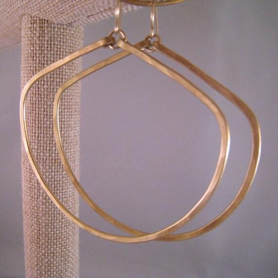Hammered Bronze Forward Facing Hoop Earrings