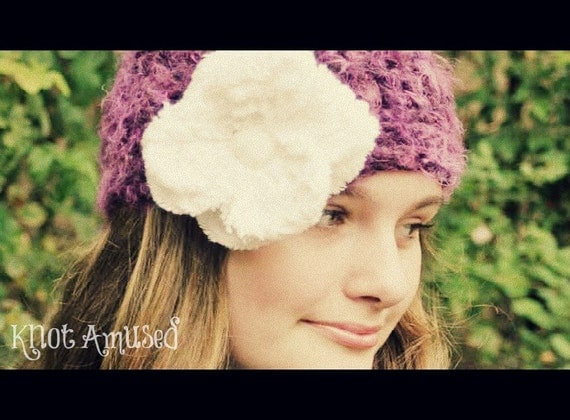 SALE ... Purple Haze - Crochet Chenille Flower Hat - Hand Crocheted Soft Wool Blend - Fabulous Fall Fashion