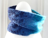 Snood neckwarmer cowl wool women scarf PARIS navy blue turquoise autumn fashion warm