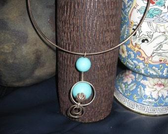 Necklace.Amulet.Charm.Steel/Bakelit Hippie Boho 60 years
