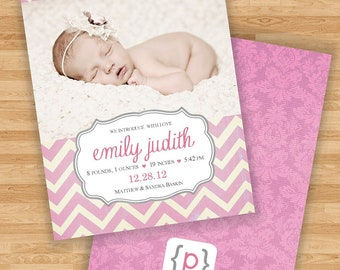 Baby Girl Birth Announcement - Chevron Stripe - Pink/Cream/Gray