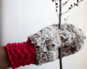 Double Mittens knitted in grey, fluorescent magenta pink  and deep blue inside in natural handspun wool