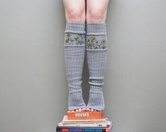 Yellow flower / Yoga socks / dance socks / leg warmers / boot socks  - Grey very long hand painted Accessories Women europeanstreetteam
