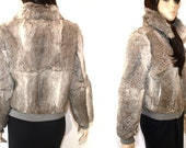 RESERVED for MZNARS - Vintage Grey and Cream Rabbit Fur Bomber Jacket With Purple Lining M / L