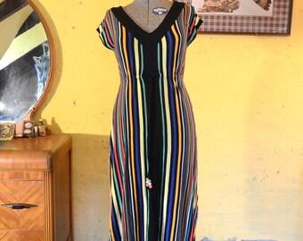 Rainbow Striped 1980s Dress - S, M