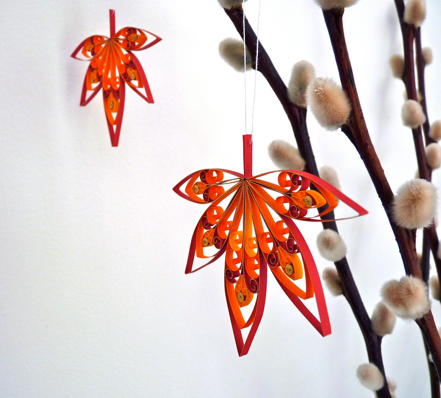Set of 7 fall autumn leaves hanging decorations quilled for Autumn leaf decoration