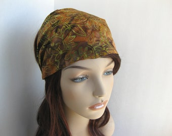 Batik Headband Gypsy Head Wrap Womens Bandana Dread Wrap Hair Accessory Brown Green Orange Vine Leaf Womens Gift for Her flower city threads